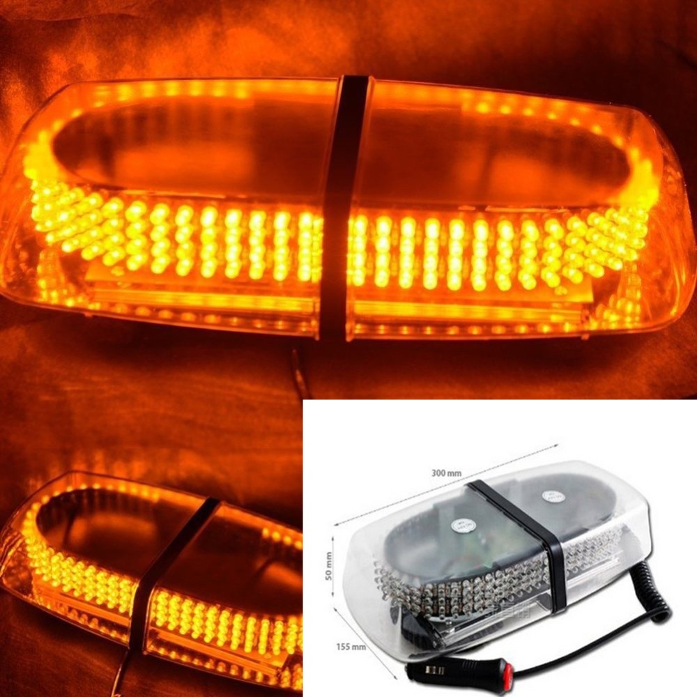 Zone Tech Emergency Hazard Warning 240 LED Strobe Light With Magnetic Base Amber<br>