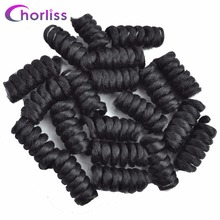 6 '' Easy Crochet Braids Curly Synthetic Crochet Twisted Braiding Hair Kenzie Curl Hair 20 Roots/ Pack 75 g Black Color 7 Packs