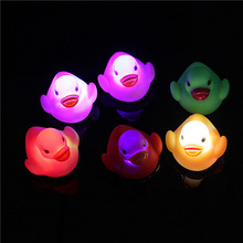 Baby Bath Toy Multi Color LED Lamp Light Yellow Duck Baby Bathing Toy Flashing Light Toy for Kids Chilren Party Christmas(China)