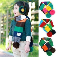 winter striped scarf children scarves,neck warmer thick little boy and girl shawl wrap,kids scarfs with ball(China)