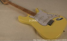 Chinese high quality Scalloped Fingerboard yellow cream Yngwie Malmsteen signature Big Head Tremolo ST 6 strings Electric guitar