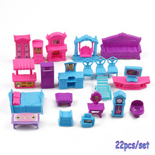 22 Pcs/Sets 3D Dolls House Set Plastic Furniture Miniature Rooms Baby Kids Pretend Play Toys Christmas Gift Doll Accessories(China)