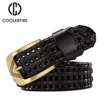 2016 New Belt Men Fashion women belts luxury genuine leather brown braided Real Cow skin straps men Jeans Wide girdle Male BZ005(China)