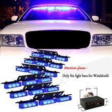 54 LED Emergency Vehicle Strobe Lights Bars Warning Deck Dash Grille Blue
