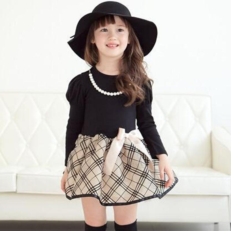 2017 New Spring Girls Dresses Princess Long Sleeve Polka Dot Plaid Cute Sweet Party Fancy Dress Girls Clothes<br><br>Aliexpress