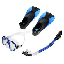 3pcs Snorkel Mask and Dry Snorkel and Fins Full Combo Set for Diving Snorkeling Swimming Adult Size XXS-M