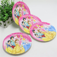 Lovely 10Pcs/lot 7 inch Cartoon princess Paper Plates for Valentine Birthday Wedding Nursery Party Tableware Party Supplies