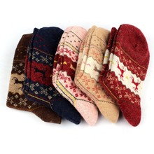 Christmas Deer Socks Women Mens Cartoon Design Casual Knit Wool Socks Men Winter Warm Shorts Ankle Socks Meias Calcetines #ZYL