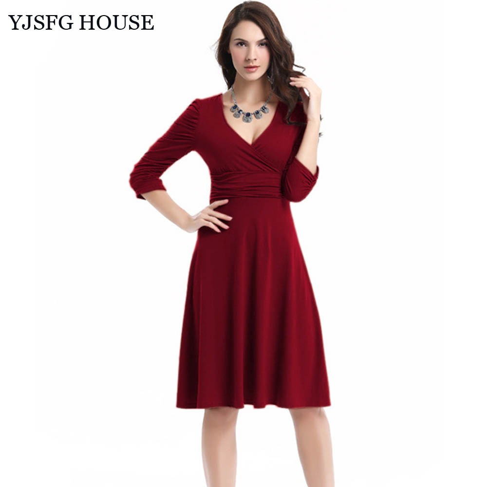 High quality maternity office dress promotion shop for high yjsfg house 2017 women formal office work ol business dress summer autumn v neck stretchy maternity pregnancy tunic midi dress ombrellifo Image collections