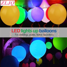 ZLJQ 10pcs 12inch Flash Light Glow Led Balloons Event Party Supplies Wedding&Birthday Decoration Glow In The Dark Sky Lantern(China)