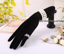 High Quality Black Velvet Jewelry Display Hand Model Form Bracelet Chain Ring Display Stand Holder Horizontal Hand