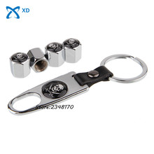 4pcs/set Steel Wheel Tire Valve Stems Caps Stainless With wrench Keychain For pirate Logo for Nissan KIA Citroen Buick Peugeo