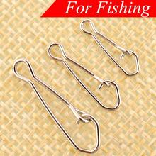 100 High Quality Safety Snaps Fishing Hooks Connector Stainless Steel Hook Lock Snap Swivels Solid Rings