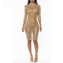 New 2017 Sale Sequin Embroidery Gold Novelty Glitter Dress Women Half Sleeve Turtleneck Bodycon Pinup Mini Dress With Paillettes