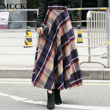 MCCKLE Thick Woolen Plaid Europe Style Winter Empire Maxi Skirt Long Women Pleated Wool Plaid Skirt Ankle-Length Saias Femininas
