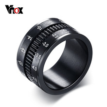 Vnox Men Ring Rotate Camera Black Unique 12mm Width Stainless Steel Jewelry High Quality
