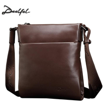DEELFEL Fashion Genuine leather Men Bag Cowhide Casual Business Men Messenger Shoulder Bags Man Travel Small Briefcase Black P50(China)