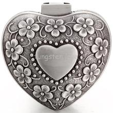 Promotion Vintage Flower Alloy Classical Heart Shape Small Jewellry Case Box Boxes Carrying Cases - Lady Gift Box(China)