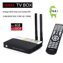 Newest Amlogic S912 Android TV BOX CSA93 3GB 32GB Media Player 2.4G&5.8G Dual WiFi BT4.0 Gigabit Lan Android 7.1 4k smart tv box(China)