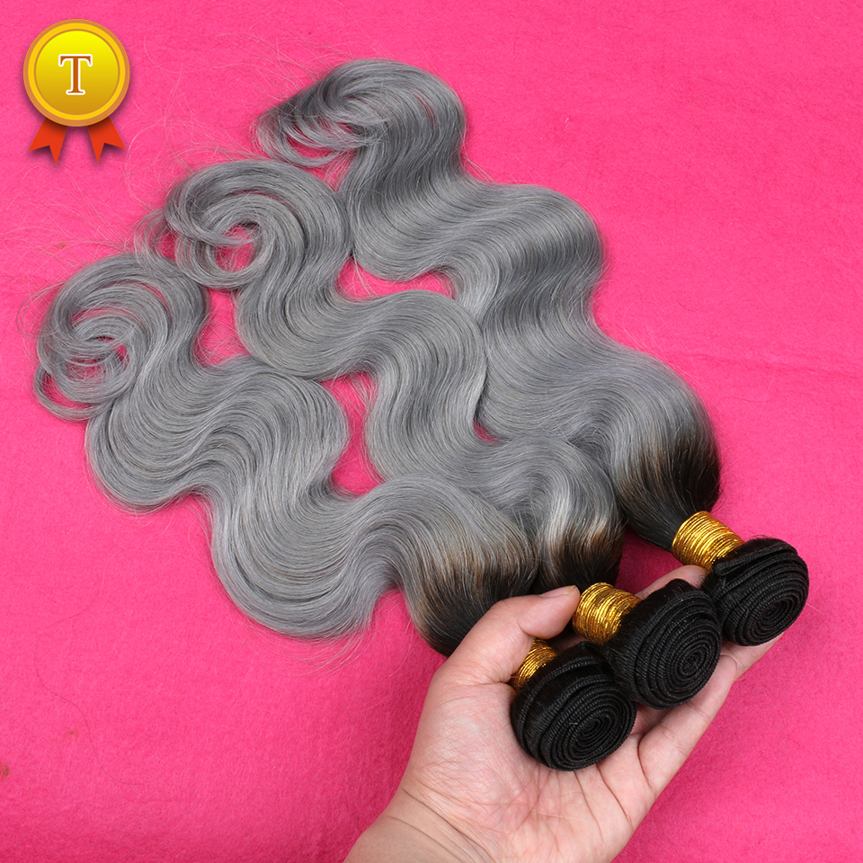 Indian Body Wave 3 Bundles Ombre Hair Extensions T1B/Grey Human Hair Weft Gray Hair Weave Ombre Weave Indian Virgin Hair<br><br>Aliexpress