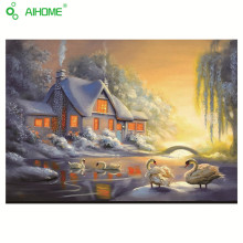 5D Snowy Cottage And Swans Diamond Embroidery DIY Diamond Village& Swan Painting Nice Mosaic Gift Used For Home Decoration