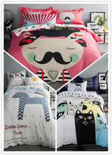 2017 New European Contracted 100% Cotton Bedding Sets, Cartoon Mustache Printing Quilt Cover, Pure Color Sheet  Kids Bedding Set