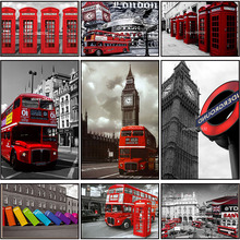 DIY Red Bus Landscape Diamond Embroidery Painting London Street Scenic Mosaic Stitch Diamond Picture Full Round Diamond Decor