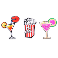 Urijk Mixed Drink Iron-On Transfers Patches For Clothing Embroidered Applications Sewing Fabric Sequin Appliques 3PCs/Set