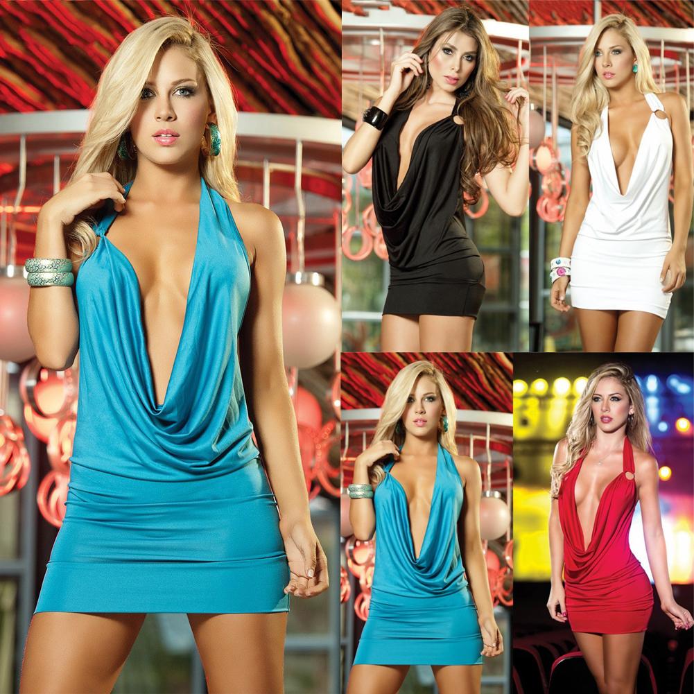 Women Backless Deep V Mini Sleeveless Halter Party Dress