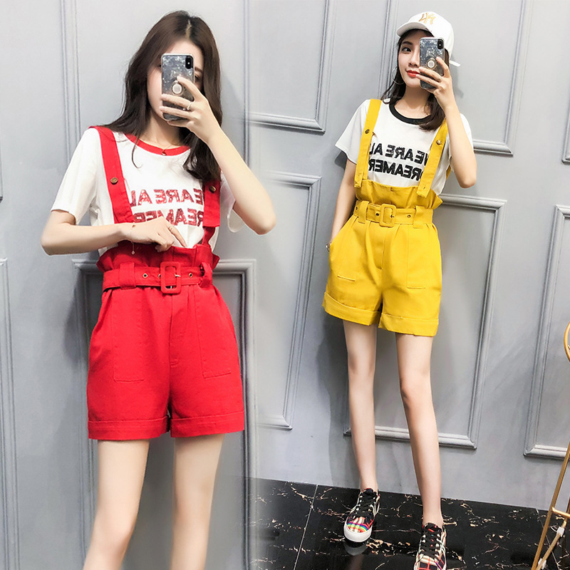 2018 New Summer Sweet Casual Cotton Sequined Letter T Shirt Women Yellow Denim Overalls Rompers Female Playsuits Two Pieces Set