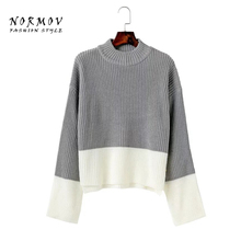 NORMOV Women Sweaters and Pullovers 2017 Fashion wild round neck loose play color cuffs slits winter sweater women(China)
