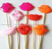 4 Photo Booth Props for Wedding Christmas Party Polymer Clay Lips on a Stick SMB 41115423