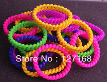 100pcs/lot Mix Colors Silicone Chain Bracelet Rubber Wristband Wrist Band Bracelet Free Shipping For Gift(China)