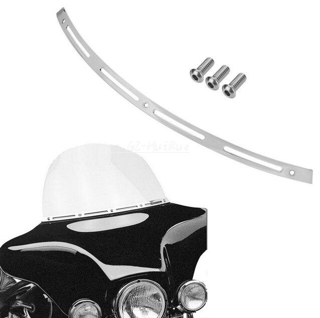 Polished Slotted Windsheld Trim For 1996-2013 Harley Touring/Bagger Models-Batwing<br>