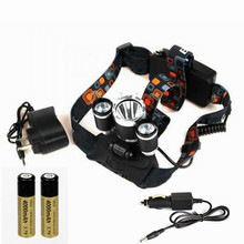 High Power led Headlamp 12000 Lumen T6+2R5 White LED Headlight Flashlight Head Lamp 4 Switch +AC Car Charger+ 2* 18650 Battery(China)