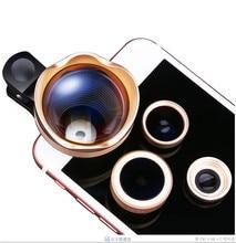 4 in 1 Schott Glas Fisheye Lenses Wide Angle Macro 3X Telephoto Lens For Nokia Lumia 1020 630 640 HTC 10 eye ZTE Mobile Clips