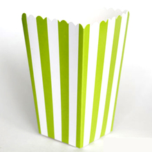6pcs Stripe stiff paper Party Popcorn Boxes Pop Corn Candy/Sanck Favor Bags Wedding Birthday Movie Party Tableware