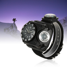 Cool Men Military Watch 3-in-1 Strap Watches LED Flashlight Torch Compass Clock Outdoor Sports Rechargeable Wrist
