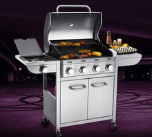 Five burners gas BBQ grill, gas stove,gas oven,outdoor all stainless steel gas BBQ grill with cover