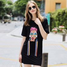 Women Cotton Dress with Sequins Patterns Colorful Ribbon Appliques Holiday Shift  Dresses Slim Style Sweet Girl Clothes ssd195 c53b25485b7d