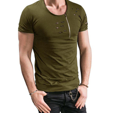 DFGUS Europe and the United States New Fashion Men's T-shirt Solid Color Holes Casual Zipper Summer Fitness O-neck Shirt