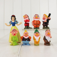 8pcs/lot Princess Snow White and the Seven Dwarfs Figure Toy 4-8cm Mini Model Doll for Children(China)