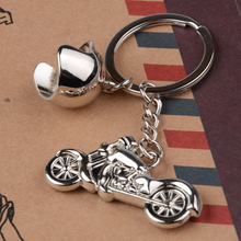 Fashion 3D Metal Model Car Motorcycle Helmet Keychain Key Chains Mini Motorcycle Pendant Keyring Men Motor Accessories