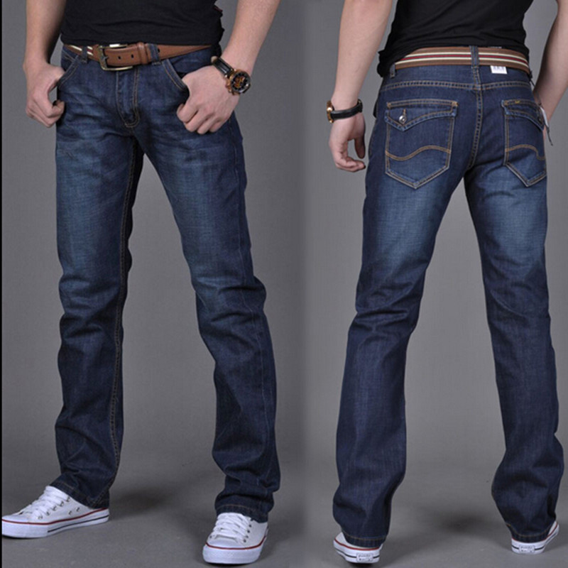 new 2017 men pure color cotton straight jeans / Big yards casual jeans mens fashion brand cultivate ones morality High qualityОдежда и ак�е��уары<br><br><br>Aliexpress