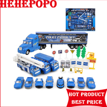Blue and White Alloy Engineering Vehicle Toys Plastic Police Patrol Set Car Sign Model Children's Puzzle Model Kids' Favourite(China)