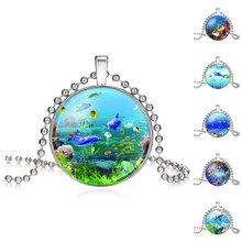 Fashion Seafloor Scenery Colorful Fish Coral Picture Glass Pendant Necklace For Women Girls Handmade Necklace 620183(China)