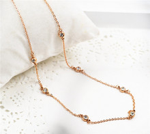 YUNRUO New Arrival Fashion 7 Crystals Pendant Necklace Titanium Steel Rose Gold Color Woman Jewelry Birthday Gift for Girl