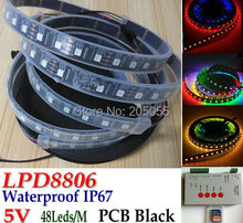 5M LPD8806 Individual Addressable RGB Dream Color pixel led strip Light 48LED/M IP67 Waterproof 5V PCB Black+ T1000S controller