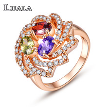 LUALA 2016 New Arrival Multicoloe Flower CZ Diamond Jewelry Ring Classic Rose Gold Plated Wedding/Engagement Rings For Women