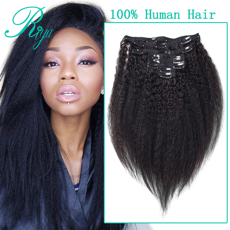 kinky straight clip in human hair extension (1)